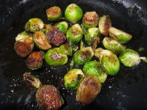 Brussel sprouts sauteed in butter and balsamic vinegar